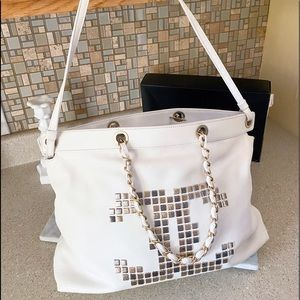 Auth. Chanel Limited Ed. White Mosaic Tote Bag